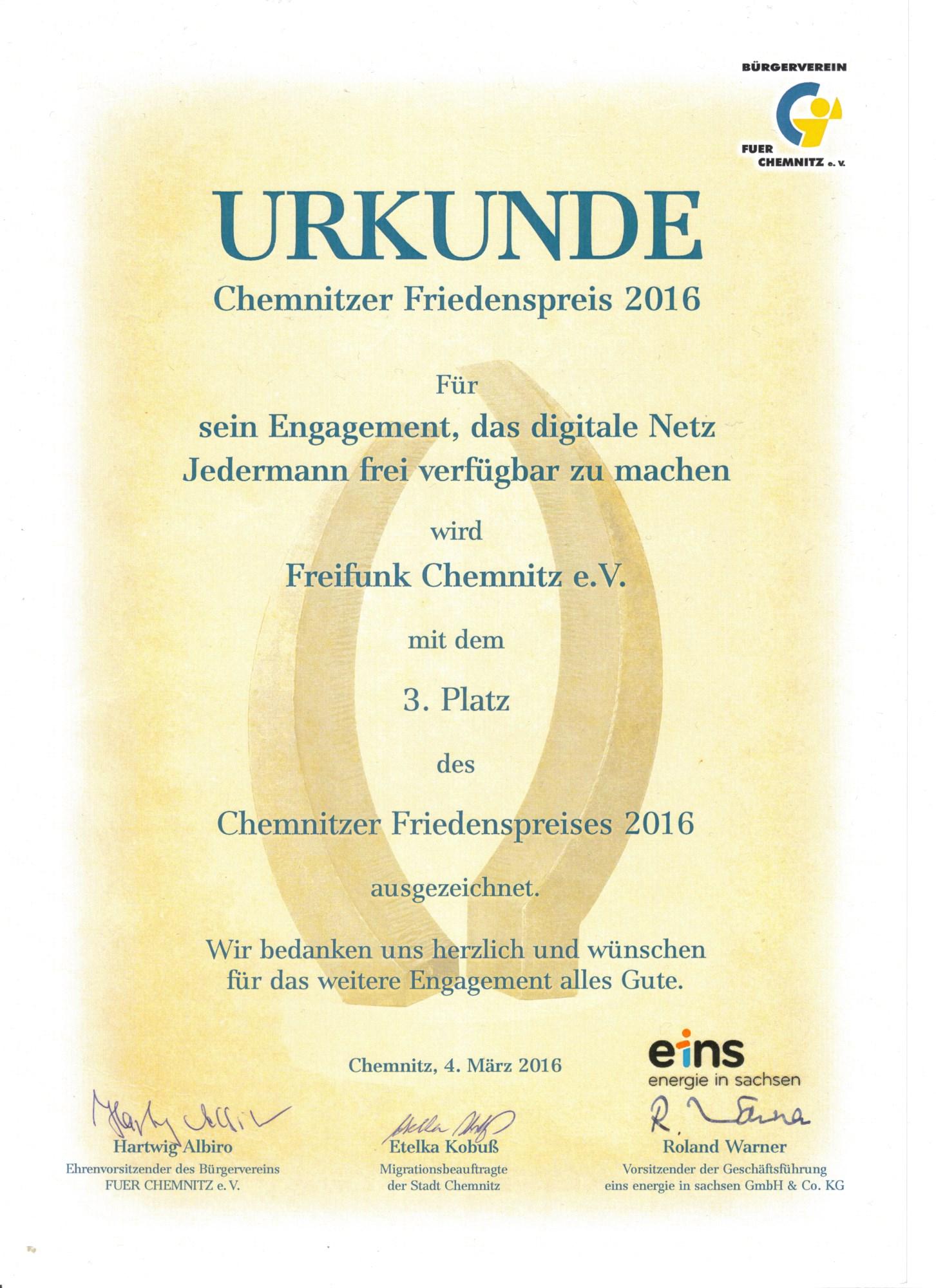 Urkunde Friedenspreis